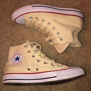Cream high top converse